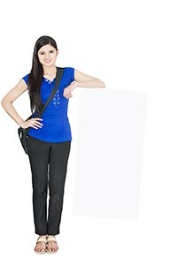 College student Girl holding blank whiteboard Educ