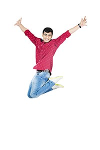 Indian Young man Jumping Successful Cheerful