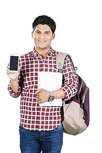 Young Man College Student Showing Cellphone Presen