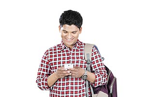 Indian College Student Boy Chatting Cellphone Mess