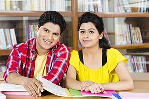 College Couple Student Studying Library Exam Prepa