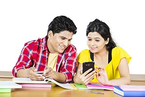 College Couple Student Classroom Reading Messaging
