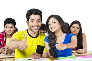 Indian College Couple Student Classroom Success Th