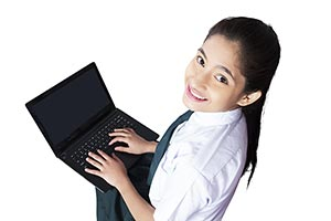 Teenager School Girl Student Laptop Working E-Lear