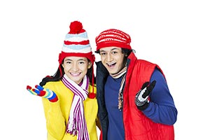 Young Couple Winter Clothe Gesturing Hands Excitem