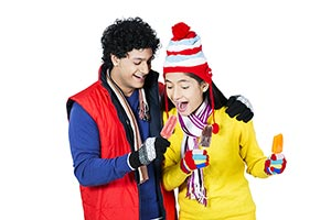 Teenager Couple Winter Clothe Feeding Delicious Ic