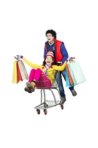 Young Couple Winter Trolley Bags Shopping Fun
