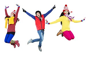 Winter Season Happy Young Friends Jumping Enjoy