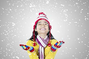 Teenager Girl Winter Falling Snow Snowfall Fun