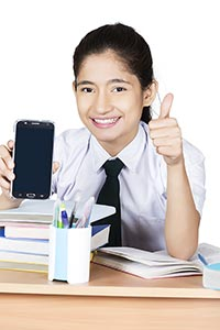 Teenage School Girl Student Showing Smartphone Thu