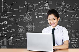 School Girl Laptop Studying Exam Preparing Classro