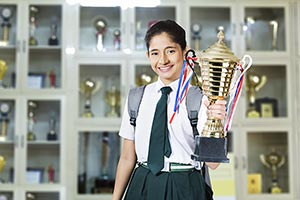 School Student Girl Teenage r Victory Trophy Showi