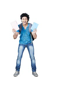 College Education Student Young Man Showing Book