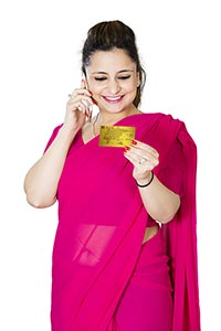 Woman Booking Credit Card Shopping Talking Cellpho