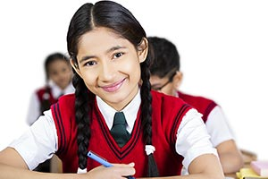 Girl High School Student Classroom Studying Smilin