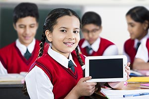 Girl School Student Tablet Study Showing Technolog