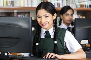Indian High School Student Girl Computer Education