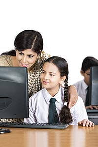 School Girl Student Teacher Helping Study Computer
