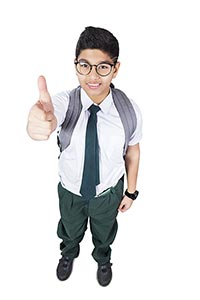 Indian High School Boy Student Thumbsup Success