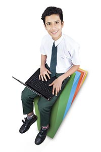 Boy Graph School Student Studying Success Laptop