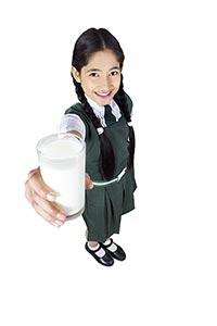 Girl School Srudent Health Drinking Milk Giving