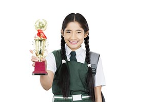 School Girl Student Winning Trophy Award Success