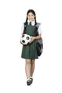 Football Player School Student Walking Girl Smilin