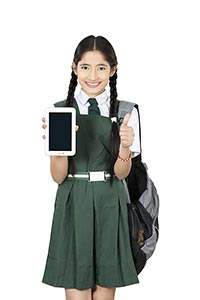 School Girl Student Tablet Showing Thumbsup