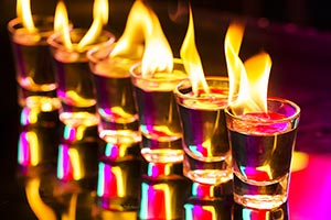 Night Club New Year Party Tequila fire shots