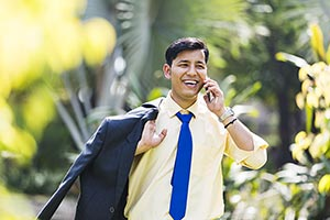 Businessman Employee Phone Park Talking Smiling In