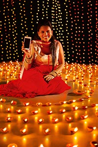Diwali Festival Smartphone Quality Showing Woman C