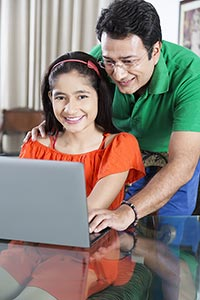 Father Helping Daughter Laptop Studying Education