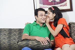 Girl daughter Father whispering Smiling gossip sec