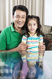 Indian Father Child Daughter Smiling At home