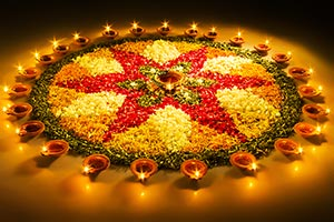 Deepavali Festival Lighting Diya Rangoli Design Ce