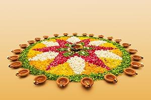 traditional diya diwali festival flower rangoli