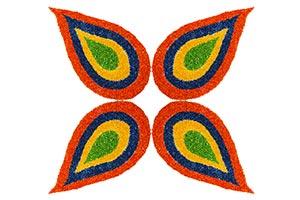 Diwali Festival Rice Decoration Multi Coloured