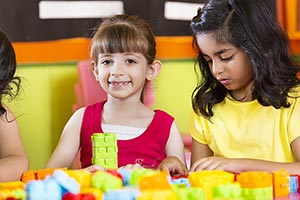 Play School Kids Playing Blocks Classroom Enjoy