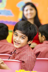 Kids Boy School Student Sitting Class Turn Smiling