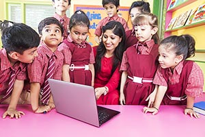 Teacher Kids Students Classroom Laptop Studying Ed
