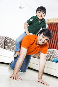 Father And Kid Boy Ride Piggyback Having Fun Playf