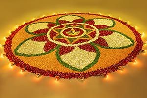 Diwali rangoli designs with flowers petals diyas I