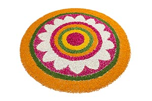 Flowers Rangoli Decoration design on white backgro