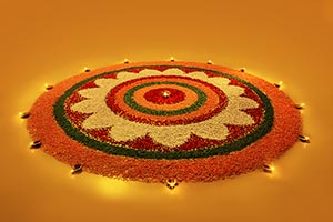 Diwali rangoli designs with flowers petals diyas L