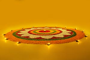 Diwali rangoli designs with flowers petals diyas R