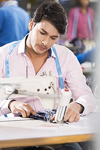 1 man Worker Tailor Sewing Factory Clothes Working
