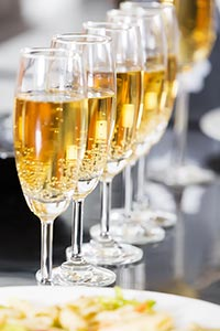 Restaurant party Concept Champagne glasses on the