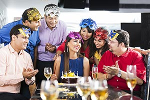 Group of friends celebrating birthday Party woman