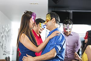 Adult Couple Dancing In Bar new year Party Celebra