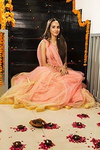 Young Woman Decorating Oil Lamp Diwali Celebrating